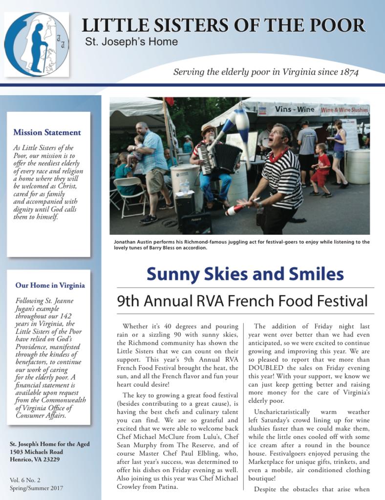 Springsummer 2017 Newsletter Little Sisters Of The Poor Virginia